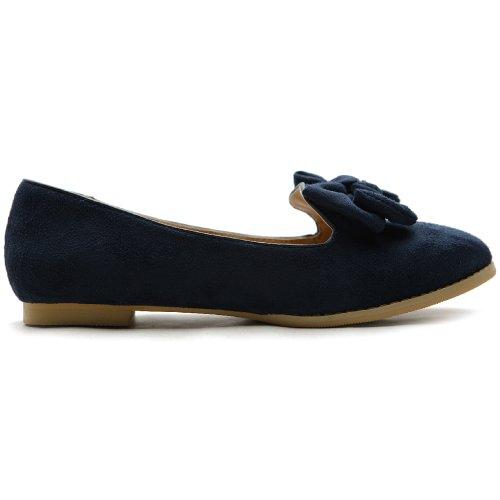 Ollio Women's Ballet shoe Faux Suede Ribbon Multi Color Flat (5.5 B(M) US, Navy)