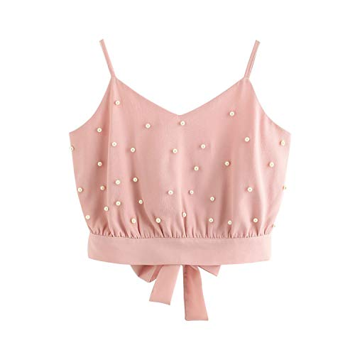 Summer Sexy Female Crop Vest Chiffon Camisole Sleeveless Tops Solid Pearl Beading Camis,Pink,XXL,C