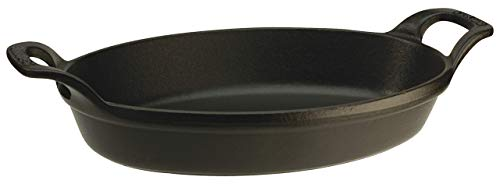 Staub Oval Roasting Dish, Matte Black - 2-3/8 Quart (Renewed)