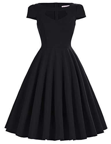 Women's Black Rockabilly Evening Dress Audrey Hepburn Size L BP0189-1 - Black 50s Dress