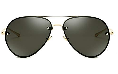 Oversized Aviator Sunglasses Vintage Retro Gold Metal Frame Colorful Lenses 62mm (Black, 62mm) (Ziel Aviator Sonnenbrille)