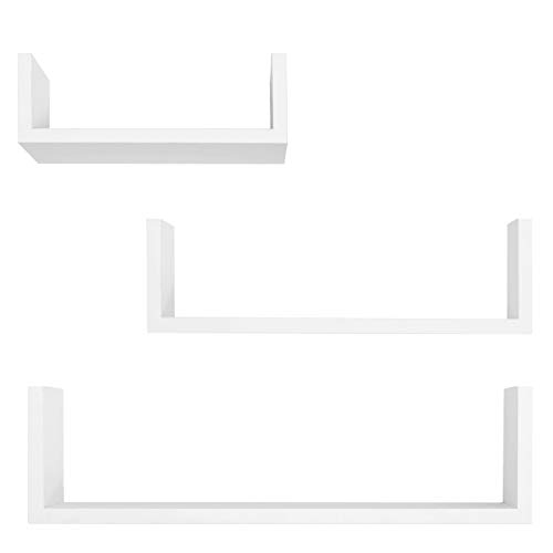 Americanflat Set of 3 - U-Shaped Wall Shelves - 3 Sizes: 15.5 Inches, 13 Inches, and 9 Inches - White