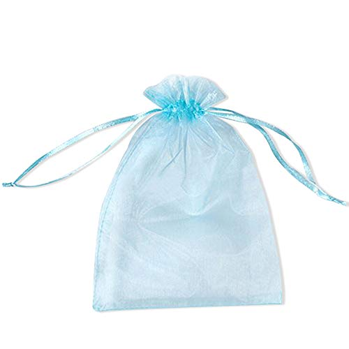 bc9ea0adaf30 BZCTAH 100 Pcs Transparent Organza Bags Drawstring Jewelry Bags, 20 x 30cm  Multicolor Drawstring Gift Pouch Candy Bags,Blue#3