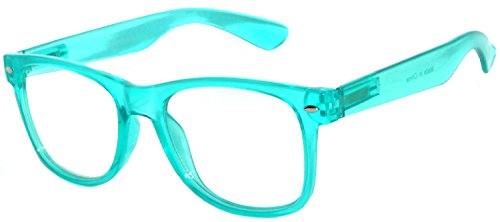Classic Vintage Sunglasses Turquoise Frame with Clear Lens for Womens OWL.