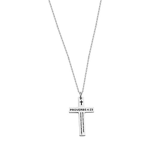 - QIIER Bible Verse Proverbs 4:23 Cross Pendant Keychain Religious Jewelry Inspirational Christian Gift (Necklace)