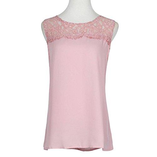 Tongshi Gasa de las mujeres sin mangas del cordón de la blusa sin mangas ocasional Rosado
