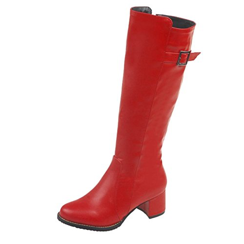 Riding Boots Knee Heel Chunky Red Shine High Mid Women's Show Fashion A8qUx1