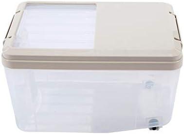 米びつ 保存容器 カップホイールを測定して2個穀物貯蔵容器13 KG気密ライスコンテナケースBPAフリー穀物オーガナイザーボックス 米粉シリアルキッチン収納用 (Color : Khaki, Size : 31x21x30cm)