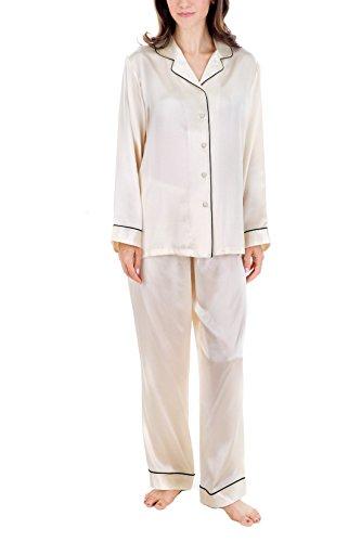 (OSCAR ROSSA Women's Luxury Silk Sleepwear 100% Silk Pajamas Set Cream)