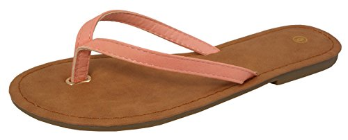 Cambridge Select Womens Classic Casual Thong Flip-Flop Flat Sandal Coral oZgiAoox