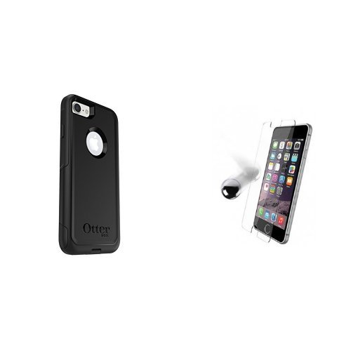 OtterBox COMMUTER SERIES Case for iPhone 7 (ONLY) - Frustration Free Packaging - BLACK and OtterBox ALPHA GLASS SERIES Screen Protector for iPhone 7 (ONLY) - Retail Packaging - CLEAR Bundle