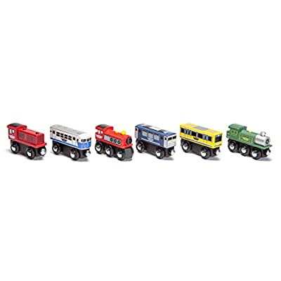 Maxim Enterprise Wooden Train Cars (6-Pc. Set) Rolling Locomotive Engines with Magnetic Links for Pulling Cars and Cabooses   Bridge and Track Use   Compatible with Thomas, BRIO, Melissa and Doug: Toys & Games
