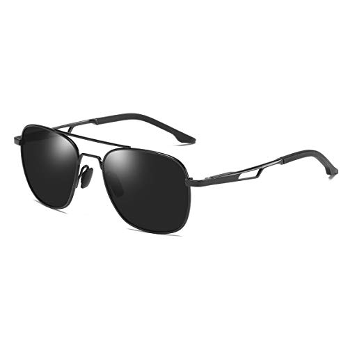 Steel Polarized Gray Mirror - ZHILE Polarized Pilot Sunglasses Military Aviator Style Spring Hinged (Black Frame Gray Lens)