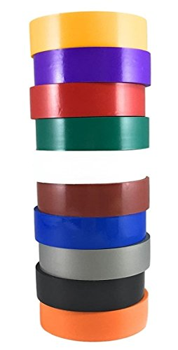 """TradeGear Electrical Tape ASSORTED GLOSSY Rainbow Colors - 10 Pk Waterproof, Flame Retardant, Strong Rubber Based Adhesive, UL Listed - Rated for Max. 600V and 80oC Use - Measures 60' x ¾"""" x 0.07"""" from TradeGear"""