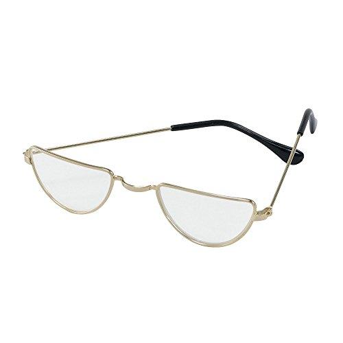 Bristol Novelty BA733 Half Moon Glasses, Gold, One ()