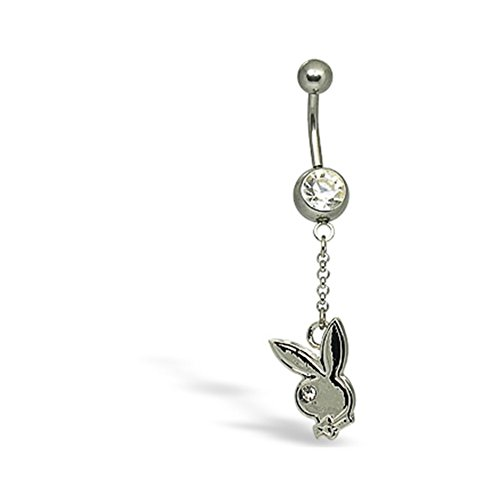 Playboy Belly Button Ring (Dangling Playboy Navel Ring)