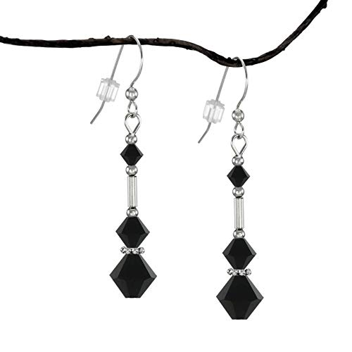 (*SALE* Fast-and-Free-Shipping – Jet Black Swarovski Crystal Triple Bicone Earrings with Sterling Silver)