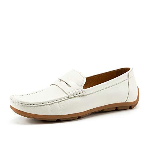 in White Zhuxin White vera on Mocassini traspirante EU piselli Calzature Size 43 Color Flats Slip barca pelle Mocassino da di uomo da Scarpe wBUBqE