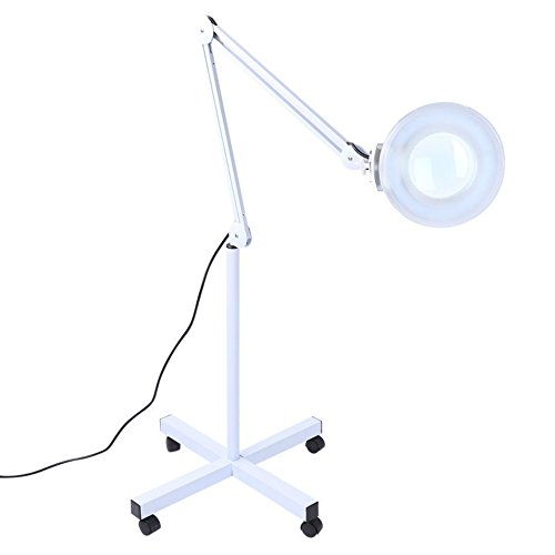 Rolling Floor Stand Swing Arm Lamp w/Magnifier (5X Diopter 2.25x Mag) | Salon Facial Spa Beautician Tatoo Jewelry Precision Work | Magnifying Glass Lamp from Eosphorus