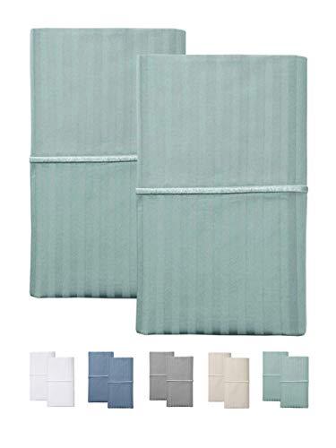 - Feather & Stitch 500 Thread Count 100% Cotton Stripe Soft Sateen Weave Standard Queen Size Pillow Cases (Standard Pillowcase Green) Set of 2