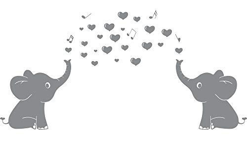 """Elephant Family Wall Decal With Hearts Music Quote Art Baby Nursery Wall Decor (Grey) - 24"""" X 51"""" from CHRIS"""