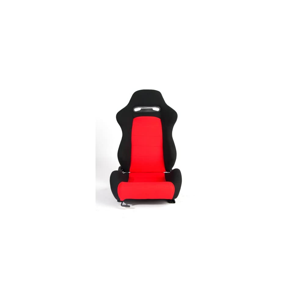 Cipher Auto Red and Black Cloth Universal Racing Seats (Two Seats) CPA1013