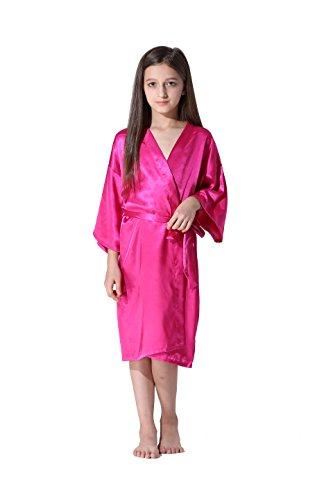 Vogue Forefront Girls' Satin Plain Kimono Robe Bathrobe Nightgown, Size 8, Hot -