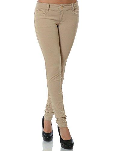 Damen Hose Treggings Skinny Röhre (weitere Farben) No 13011, Größe:L 40;Farbe:Beige