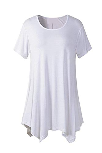 Corta Rotondo di di Top Casual Collo Baggy Estivi Irregular Manica Mode Monocromo Eleganti Modern Magliette Bianca Tops Color Stile Marca Size Donna Tshirt S UXYHqz