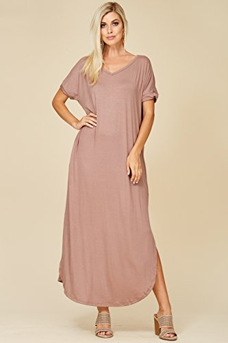 Grey Pockets V Long Women's with Split Sleeve Maxi Annabelle Short Dresses Taupe Neck aOxw7