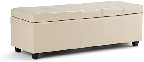 SIMPLIHOME Castleford 48 inch Wide Rectangle Storage Lift Top Ottoman