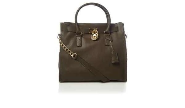 ac13558e536119 Amazon.com: Michael Kors Hamilton NS North South Large Loden Green Olive  Pebbled Leather Tote Handbag: Shoes