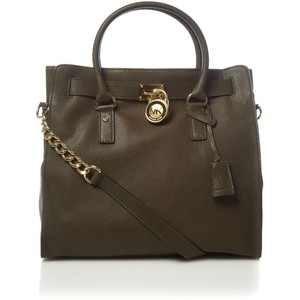 65e9fd343c1c Amazon.com: Michael Kors Hamilton NS North South Large Loden Green Olive  Pebbled Leather Tote Handbag: Shoes