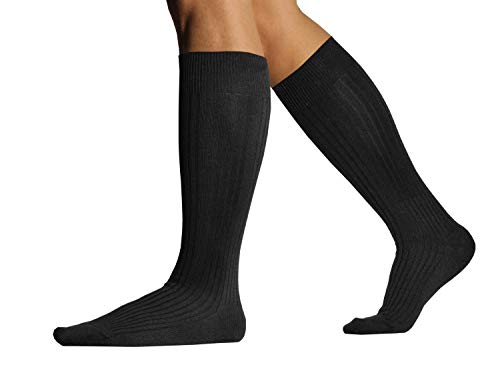 L.Martin Pima Cotton Over the Calf Dress Socks for Men 3Pairs Black 10-13/L