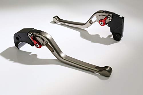 Autobahn88 Motorcycle Clutch + Brake Lever Set for Ducati : Monster 796 (2010-2014) (Long Style : Titanium+Red/Handle+Adjuster) ()
