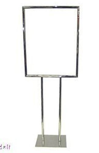 """22"""" x 28"""" Twin Pole Bulletin Holder Poster Frame Floor Standing Sign Stand in Chrome by Metropolitan Display"""