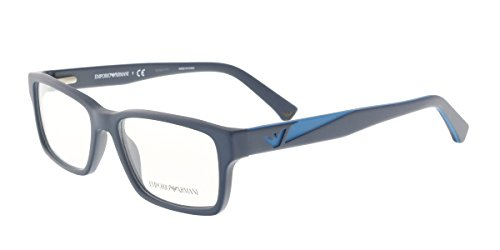 Armani EA3087 Eyeglass Frames 5504-52 - Matte Blue - Emporio Price Glasses Armani