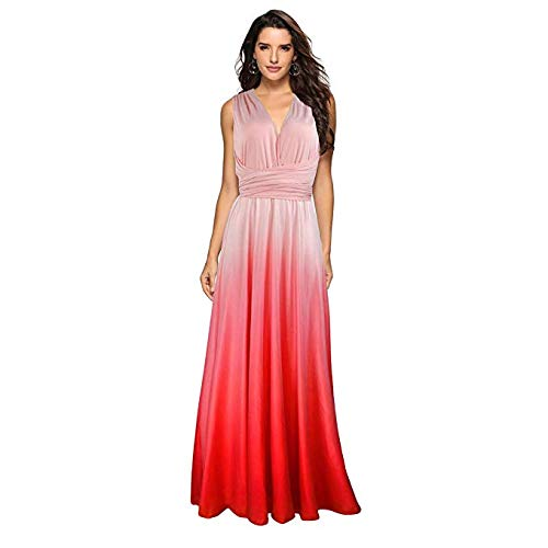 - Townshine Style Women's Fashion Gradient Color Sleeveless V Neck Casual Maxi Long Dress(Pink)