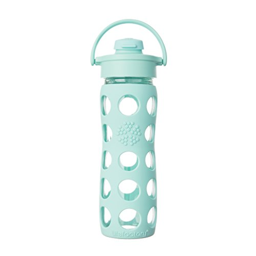 Lifefactory 16-Ounce BPA-Free Glass Water Bottle with Flip Cap and Silicone Sleeve, Turquoise (Turquoise Water Glasses)