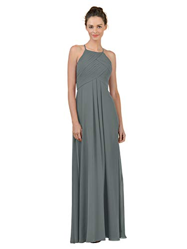 Alicepub Long Chiffon Plus Size Bridesmaid Dress Maxi Evening Gown A Line Plus Party Dress, Steel Gray, US8