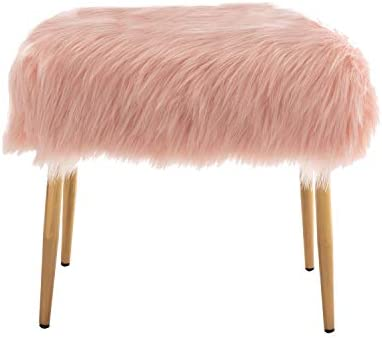 ZHENGHAO Fluffy Faux Fur Small Ottoman Vanity Stool
