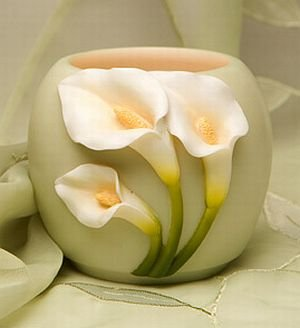 Gorgeous Calla Lily Floral Tea Light Votive Candle Holder - Calla Lily Votive