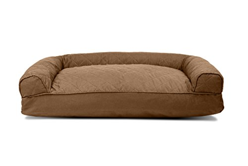 Furhaven Pet Quilted Pillow Sofa Pet Bed, Warm Brown, Medium