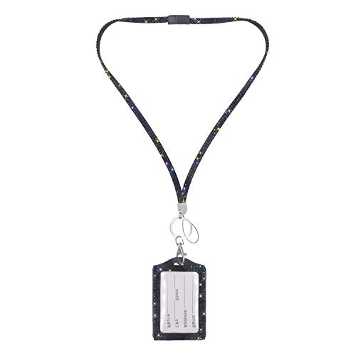 Soleebee 31.5 inches Lanyard with Vertical ID Card Holder, Bling Crystal Diamond ID Lanyard Neck Strap with Breakaway Safety Clasp (Black)