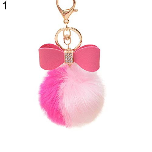 Faux Rabbit Fur Ball Pom Pom Bowknot Charm Car Keychain Handbag Phone Key Ring - 1# GlobalDeal