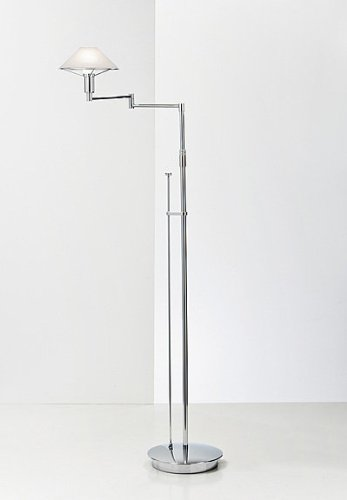 Brass Aging Eye (Holtkoetter 9434 CH AWH Lighting for The Aging Eye Halogen Swing-Arm Floor Lamp, Chrome with Alabaster White Glass, 9.25