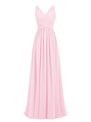 A-line V-Neck Chiffon Long Empire Bridesmaid Dresses Simple Prom Dresses (US12, Blush Pink)