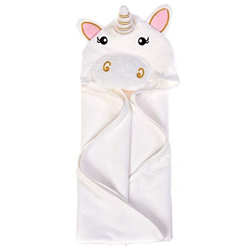 Hooded Baby Towel with 100% Soft Cotton for Boys and Girls - Cute 3D Animal Baby Bath Towel Extra Soft Hooded Towels for Baby Perfect Baby Gifts and Baby Towels - Baby Towel (White Unicorn)