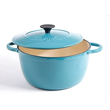 The Pioneer Woman Timeless Beauty 5-Quart Cast Iron Dutch Oven with Stainless Steel Butterfly Knob, Turquoise/Blue