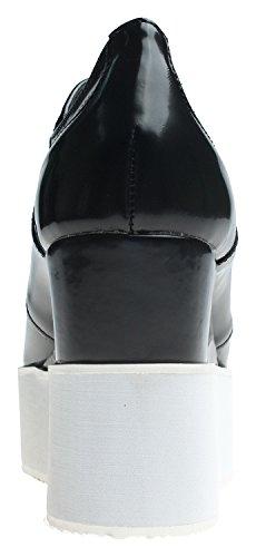 White Oxfords AnnaKastle Creepers Black Platform Wedge Shoes Womens Fashion High Wedge Heel qUqwvTHr
